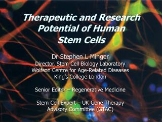 Therapeutic and Research  Potential of Human  Stem Cells