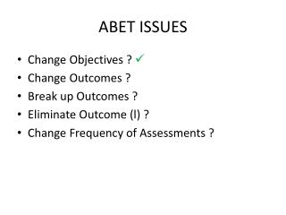 ABET ISSUES