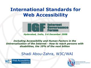 International Standards for Web Accessibility