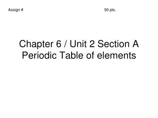 Chapter 6 / Unit 2 Section A Periodic Table of elements
