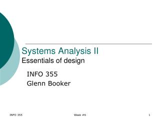 Systems Analysis II Essentials of design