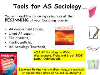 Tools for AS Sociology ….