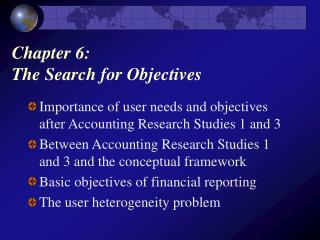 Chapter 6:  The Search for Objectives