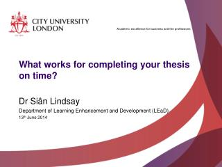 What works for completing your thesis on time?