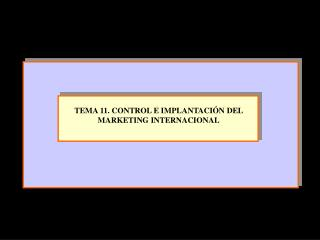 TEMA 11. CONTROL E IMPLANTACIÓN DEL MARKETING INTERNACIONAL