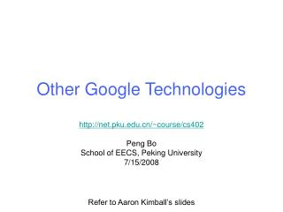 Other Google Technologies