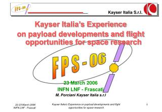 Kayser Italia's Experience  on payload developments and flight opportunities for space research