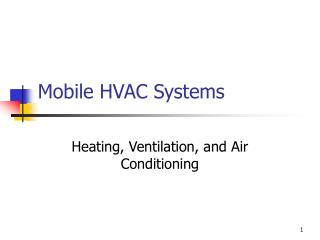 Mobile HVAC Systems