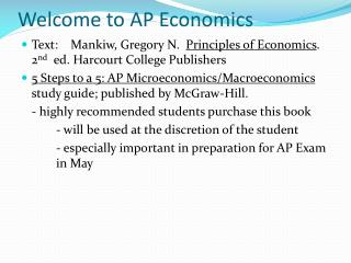 Welcome to AP Economics