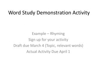 Word Study Demonstration Activity