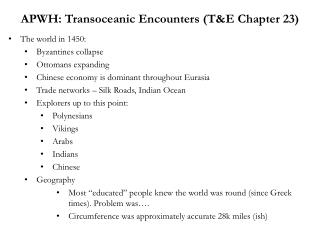 APWH: Transoceanic Encounters (T&E Chapter 23)