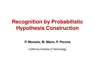 Recognition by Probabilistic Hypothesis Construction