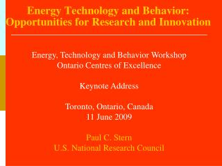 Energy Technology and Behavior: Opportunities for Research and Innovation