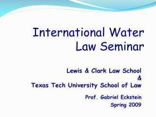 International Water Law Seminar