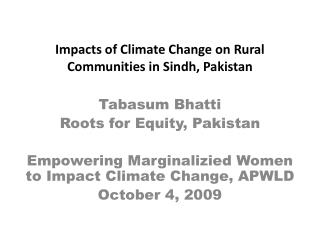 Impacts of Climate Change on Rural Communities in Sindh, Pakistan