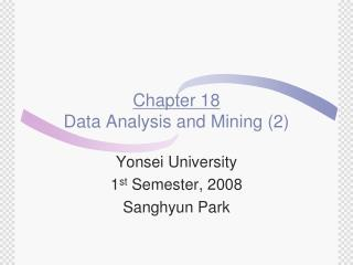 Chapter 18 Data Analysis and Mining (2)