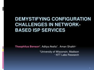 Demystifying Configuration Challenges in Network-based ISP Services