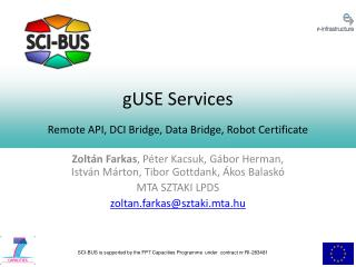 gUSE Services Remote API, DCI Bridge, Data Bridge, Robot Certificate