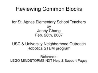 Reviewing Common Blocks