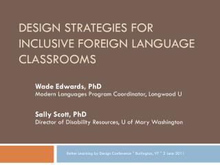 Design Strategies for Inclusive Foreign Language Classrooms