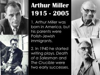 arthur miller essay Free essay: arthur miller's death of a salesman is a modern tragedy in the fourth century bc, aristotle set forth his description of dramatic tragedy, and.