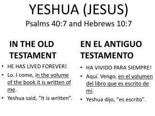 YESHUA (JESUS) Psalms  40:7 and Hebrews  10:7