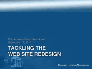 Tackling the  web site redesign