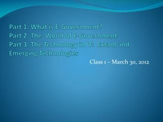 Class 1 – March 30, 2012