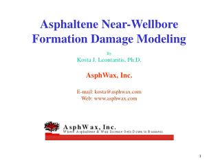 Asphaltene Near-Wellbore Formation Damage Modeling
