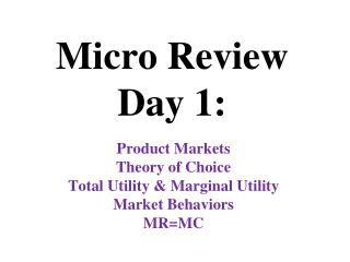 Micro Review Day 1: