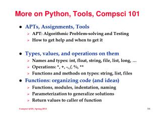 More on Python, Tools, Compsci 101