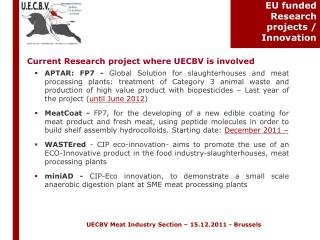EU funded Research projects / Innovation