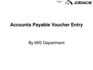 Accounts Payable Voucher Entry