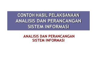 Ppt Mata Kuliah Analisa Perancangan Sistem Informasi Powerpoint