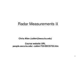 Radar Measurements  II