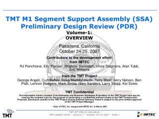 TMT M1 Segment Support Assembly (SSA) Preliminary Design Review (PDR) Volume-1:   OVERVIEW