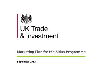 Marketing Plan for the Sirius Programme