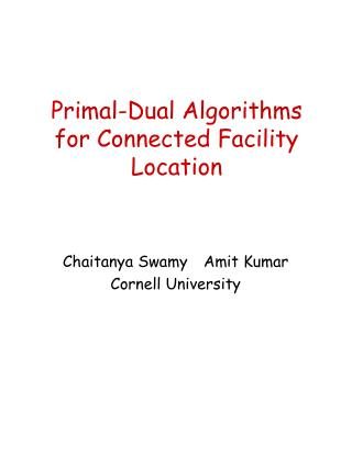 Primal-Dual Algorithms for Connected Facility Location