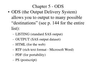 Chapter 5 - ODS