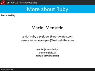 Chapter 2.2 – More about Ruby