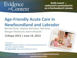 Age-Friendly Acute Care in Newfoundland and Labrador