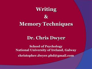 Dr.  Chris Dwyer