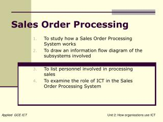 Sales Order Processing
