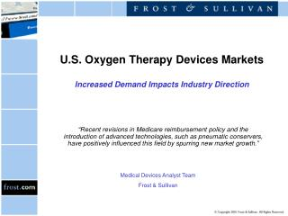 U.S. Oxygen Therapy Devices Markets Increased Demand Impacts Industry Direction