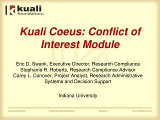Kuali Coeus: Conflict of Interest Module