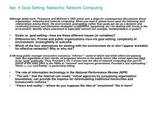 Apr. 4 Goal-Setting; Networks; Network Computing