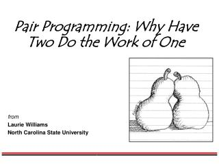 Pair Programming: Why Have Two Do the Work of One