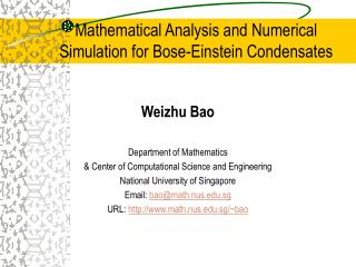 Mathematical Analysis and Numerical Simulation for Bose-Einstein Condensates