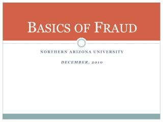 Basics of Fraud