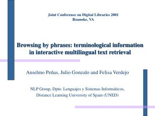 Browsing by phrases: terminological information in interactive multilingual text retrieval